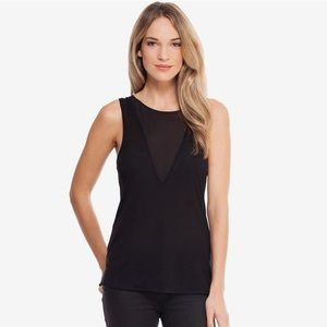 French Connection Sheer Mesh Cut Out Tank